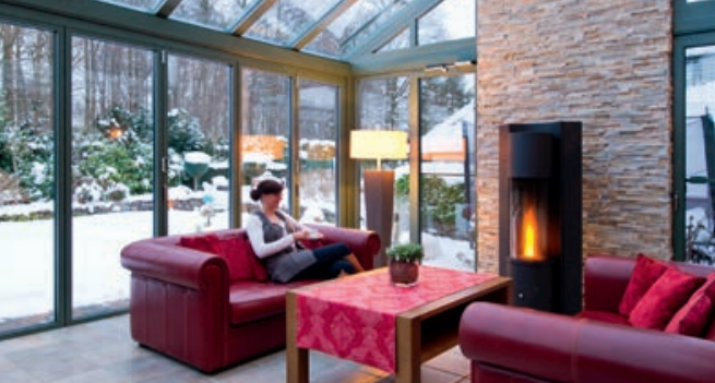 Wintergarden with fireplace 2